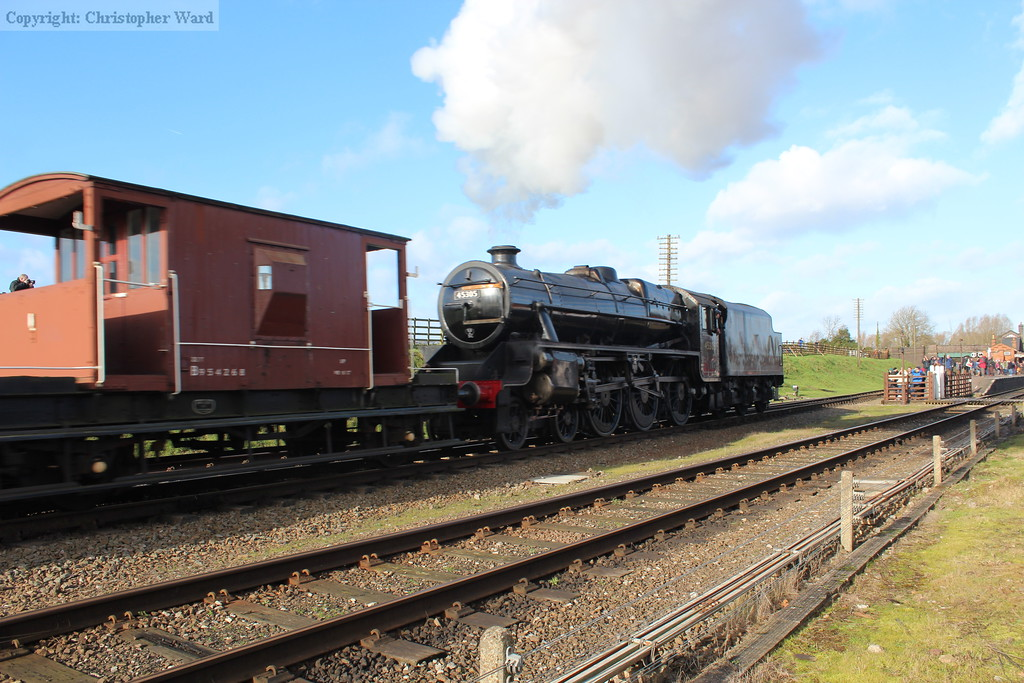 The Black Five saunters through with a freight working