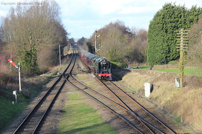 """Perhaps a scene from the last few years of the old S&D as a rake of maroon stock is bought along the line by """"92220"""""""