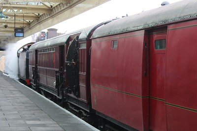 31806 prepares to take a TPO run out of Loughborough  (Note - this photo has been digitally altered to remove a person on the platform)
