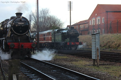 48624 and 1744, the spare engine for the gala, provide a contrast in just about everything at the south end of Loughborough station