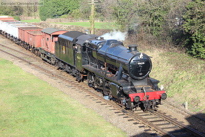 The 8F now in more traditional BR black livery, having lost the lined red livery of previous years