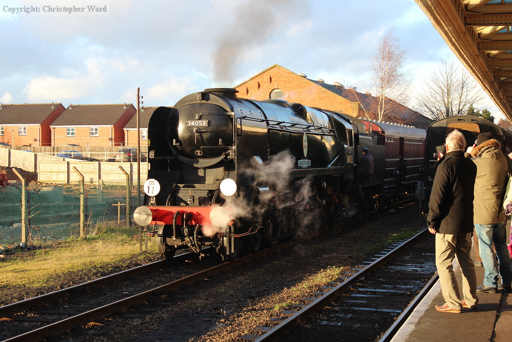 The Bulleid is the centre of attention at Loughborough as a member of the crew boards for the TPO run