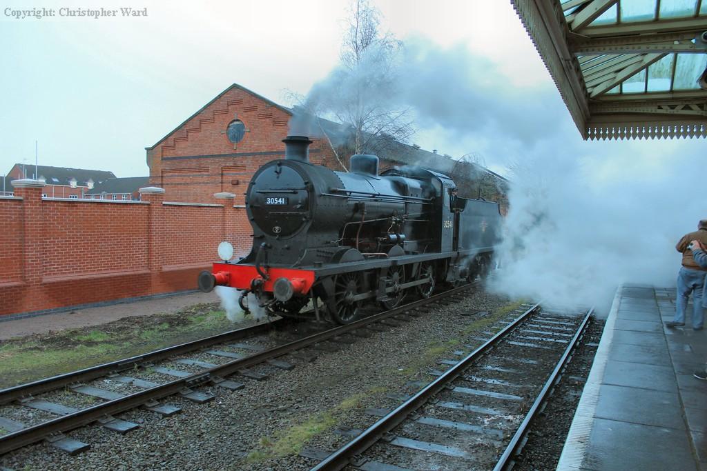 A damp Q class shrouds Loughborough with steam