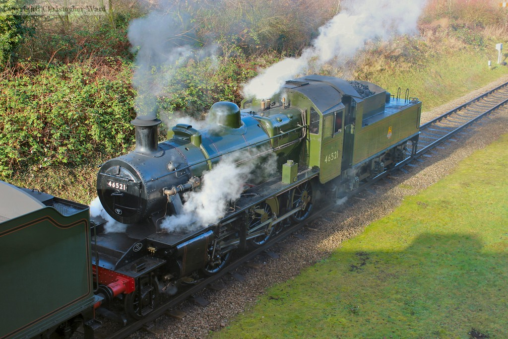 A high angle on the Ivatt as she double-heads with Witherslack Hall