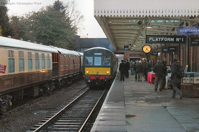 The DMU arrives back into Loughborough with the light starting to fade