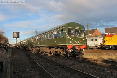 The DMU pulls out of the sidings to form a service to Rothley