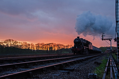 48624 passes Swithland at sunset