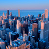 Aerial view of Chicago from the Willis Tower as the sun sets