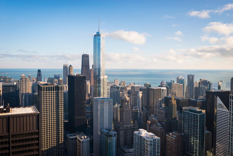Aerial view of Downtown Chicago including the John Hancock Center and Trump Tower, from Chase Tower