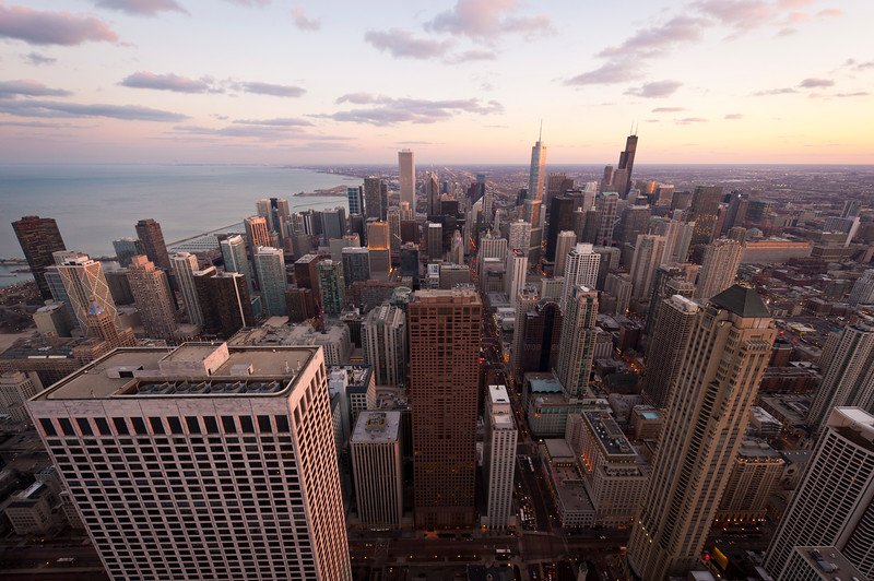 View of Downtown Chicago including Trump Tower and the Willis Tower, from the John Hancock Center