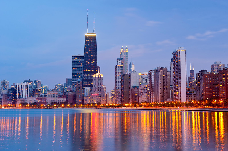 Chicago lakefront from north, looking south along Lake Shore Drive as the sun sets