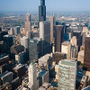 Aerial view of Downtown Chicago buildings including the Willis Tower, from the Aon Center
