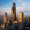 Aerial view of Downtown Chicago including the Willis Tower, from the Chase Tower