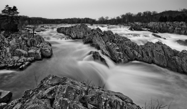 Black and White View of Potomac River, Great Falls Park, Virginia