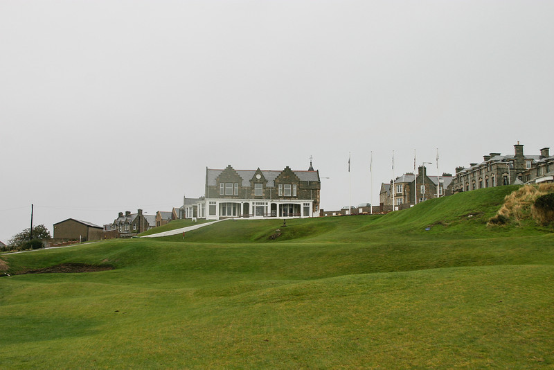 18th green and clubhouse at Old Moray