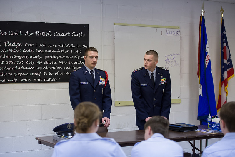 CAP Licking County Composite Squadron performs ceremony for Cadet: Change of Command, Cadet Capt Thomas relieves Cadet Capt Hennell of Cadet Command