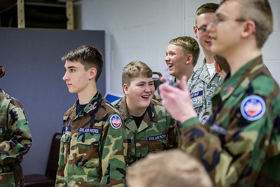 Cadets at the Licking County Composite Squadron, a local unit of Civil Air Patrol located in Newark, Ohio, learn about flying drones and try to maneuver them through an indoor obstacle course.