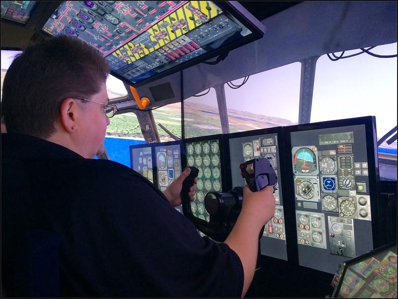 Lt Col Jennifer Hicks in the C-130 simulator