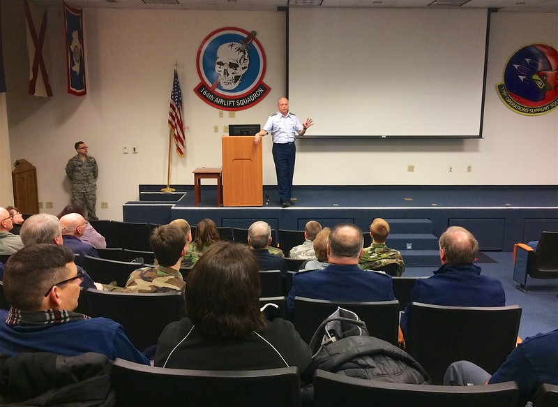 Col Jennison addressing our members during the general assembly at TDW