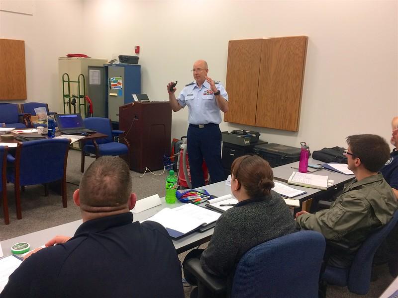 Lt Col David Dlugiewicz speaking to the SLS class