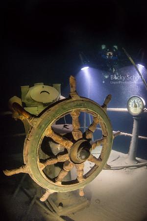 Gunilda fly bridge wheel and telegraph