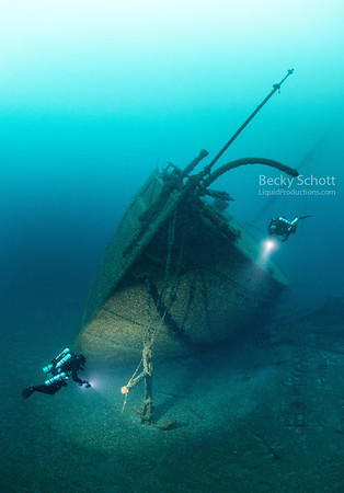 The Norman bow anchored forever in 200ft