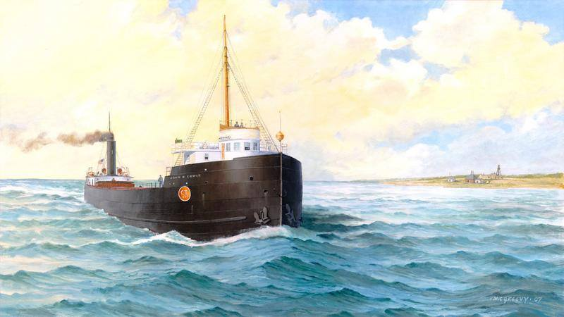 A combined illustration of the John B Cowle as she sailed created by Bob McGreevy, and her wreck site today, by Ken Marschall.