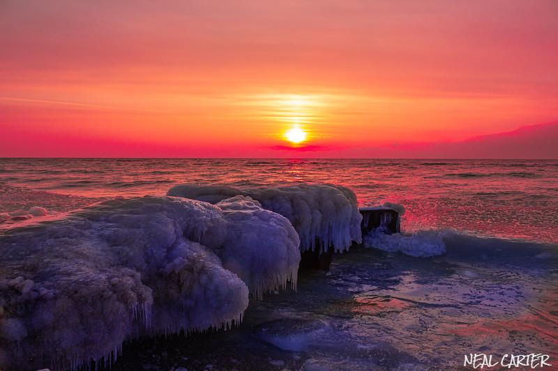 Point Betsie Winter Sunset