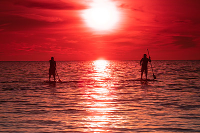 Saharan Dust Cloud Paddle Board Sunset