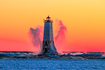 Frankfort Lighthouse Winter Gale