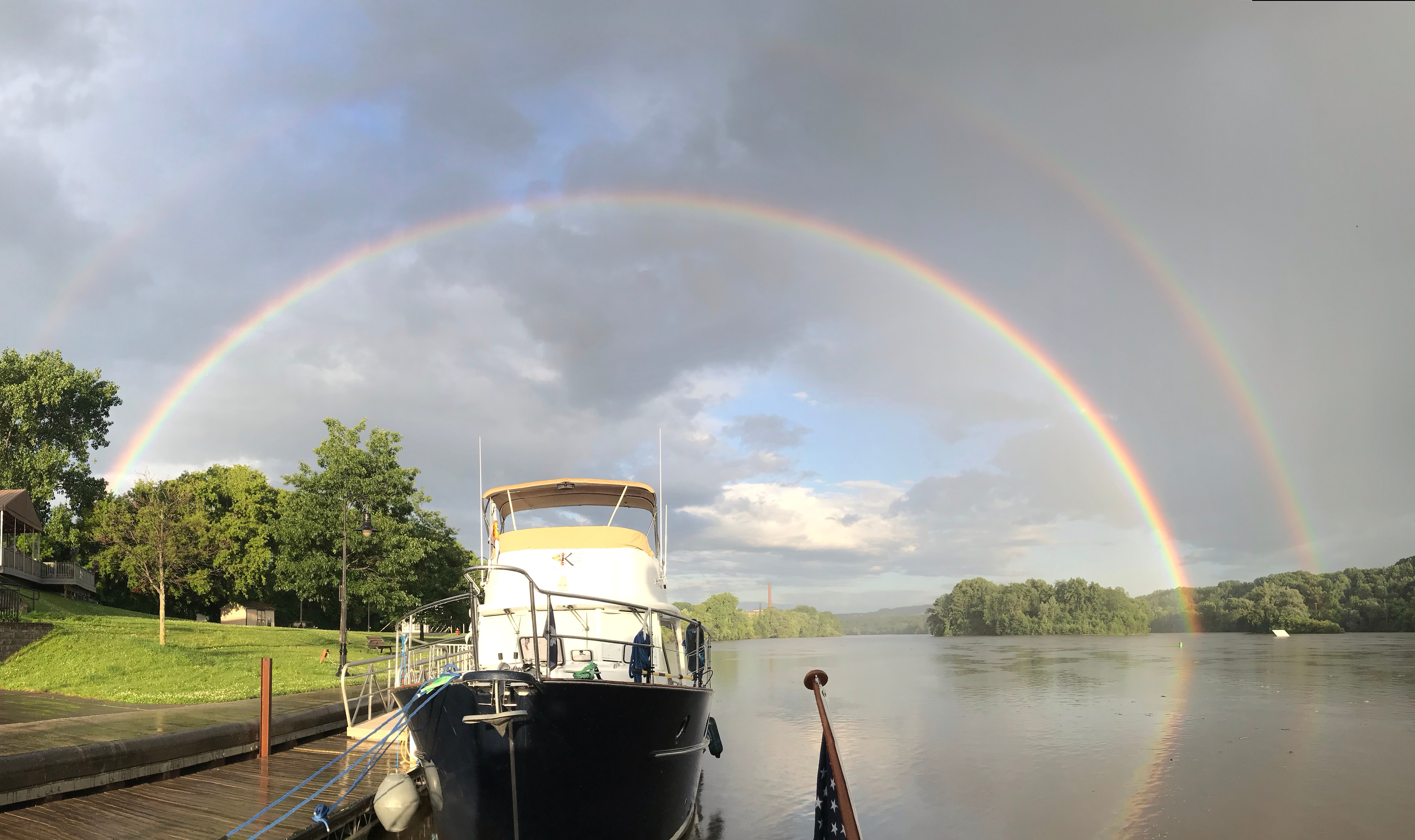 Double rainbow over the boat