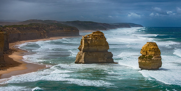 Panorama of of two of the Twelve Apostles,  Great Ocean Road, Australia