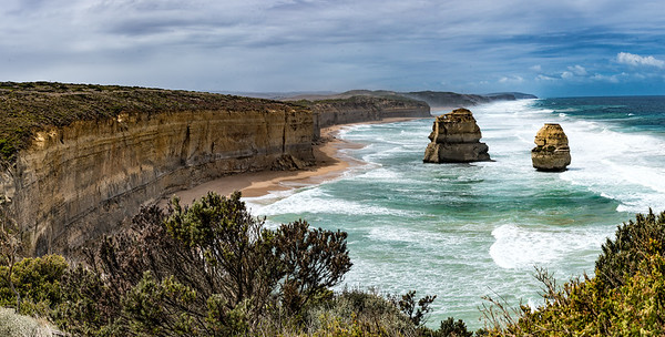 Panorama of two of the Twelve Apostles,  Great Ocean Road, Australia