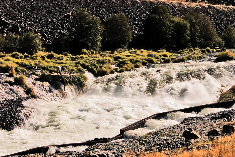 Native American fishing area on the Deschutes River.
