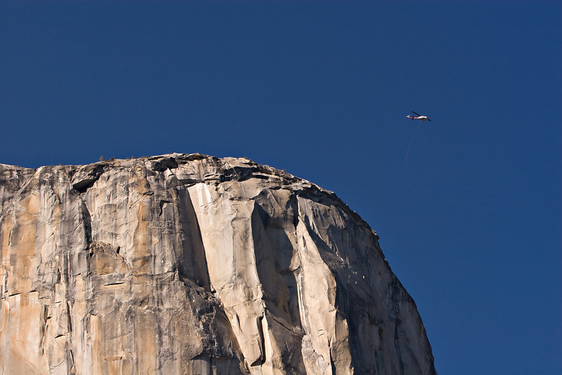 There were several climbers stuck on the face of El Capitan the day we were there.  This helicopter was dropping supplies on the top for a rescue attempt.
