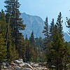 The mirage of Fletcher Peak on a smoky day.<br /> <br /> Day 1 - Tuolumne Meadows Lodge to Vogelsang camp.