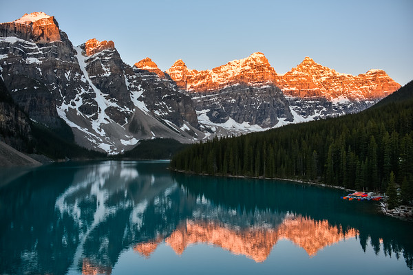 Sunrise Colors at Moraine Lake
