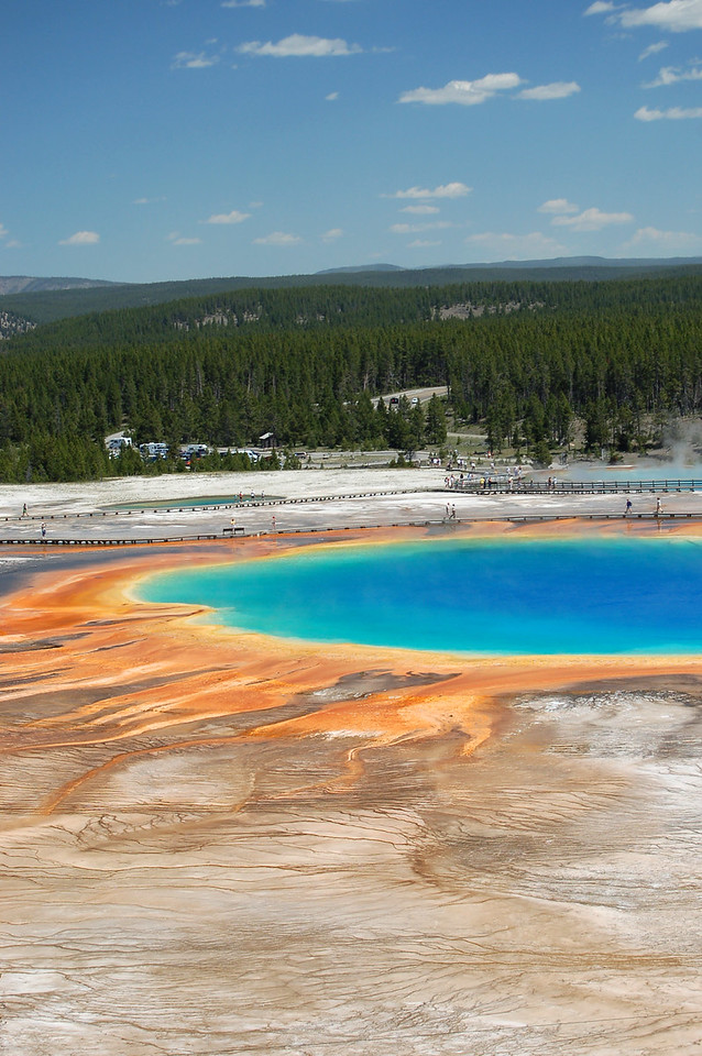 Grand Prismatic Spring is one of the largest hot springs in the world ... and surely one of the most beautiful.  Its full beauty can best be taken in from atop the nearby hills.