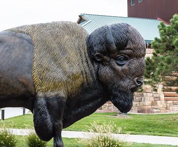 Close up Bison head at The, great, Platte River, Road, Archway, Monument, Highway I-80 Kearney, Nebraska
