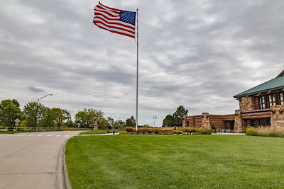 American Flag on a pole at the  great, Platte River, Road, Archway, Monument, Highway I-80 Kearney, Nebraska