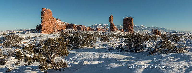 Balanced Rock (panoramic, 6 vertical images) - Arches National Park, Utah - Mark Gromko - December 2013