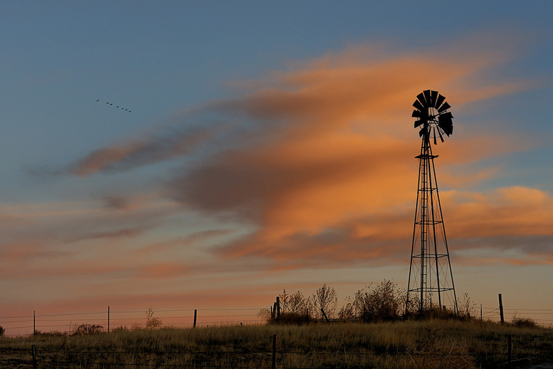 Windmill Sunset at Exit 165 - Sedgwick, Colorado - Paul Riewerts - December 2013