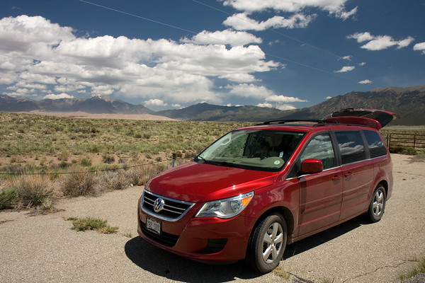 """The classic """"minivan in the middle of nowhere"""" shot that we take on each road trip."""