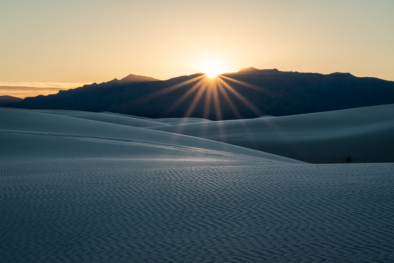 Setting sun over the San Andres Mountains to the west of White Sands NP.