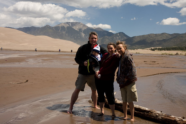 The family photo at Great Sand Dunes NP. As you can see from Niko's hair, there was a stiff wind!