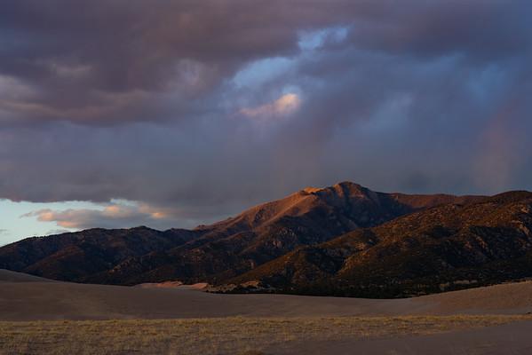 Last sliver of light on Mt. Herard, Great Sand Dunes National Park.