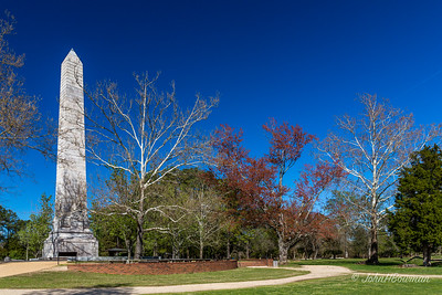 Jamestown Island, site of  1st permanent English settlement in North America in 1607 consists of 1500 acres owned by National Park Service, aside from 22.5 acres bought by Preservation Virginia (then APVA) in 1893, now jointly operated as Historic Jamestowne; Old Towne, much of it on PV land, includes 1607 James Fort, 1640s brick church tower, & Memorial Church, Tercentenary Monument, & Yeardley House, all dating from 1907 tercentennial celebration; New Towne lies E of Monument & includes recreated foundations of rowhouses & other buildings, as well as 1750s Ambler House ruins; 1907 Tercentenary Monument is 103-ft obelisk with inscription on each side of base; Jamestown National Historic Site designated 1940, added to National Register of Historic Places 1966 (66000840) & now part of Colonial National Historic Park, which includes Jamestown, Yorktown, Colonial Parkway, etc