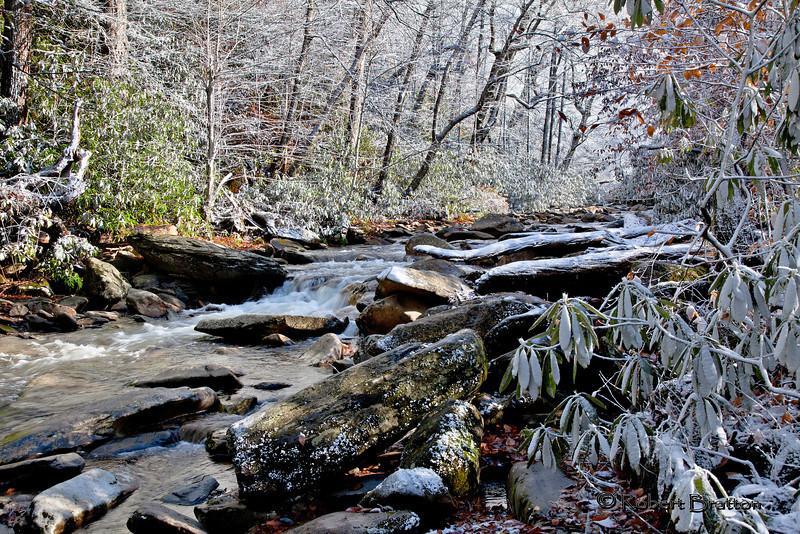 Snowy Stream on Drive to Newfound Gap