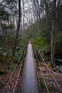 old metal bridge over thunderhead prong