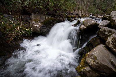 small fast flowing waterfall on the lynn camp prong